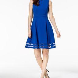 Illusion-Trim Fit & Flare Dress   Macys (US)