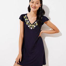 Embroidered Flutter Swing Dress | LOFT