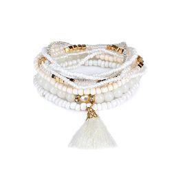 TIDOO Jewelry Vintage Bohemian Stretch Beaded Bracelet for Women Tassels Pendant Bracelet Set | Amazon (US)