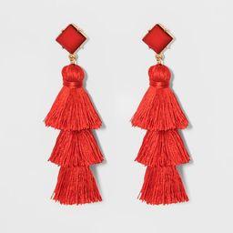 SUGARFIX by BaubleBar Crystal Studs Tassel Drop Earrings - Red | Target