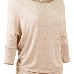 DOUBLDO Womens Wide Neck Half Sleeve Banded Batwing Slouchy Dolman Jersey Top   Amazon (US)