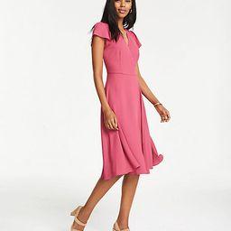 Flutter Sleeve Wrap Flare Dress | Ann Taylor (US)