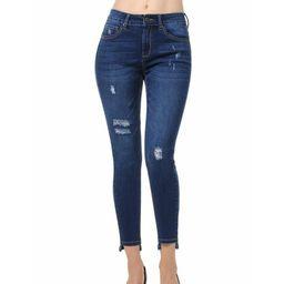 Juniors' Distressed with Hem Detail Skinny Jeans | Walmart (US)