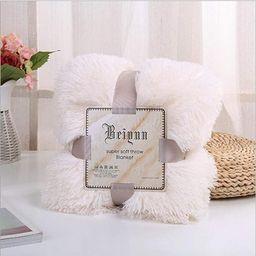 HOMIGOO Super Soft Shaggy Faux Fur Long Hair Throw Blanket Cozy Elegant Decorative Blanket White | Amazon (US)
