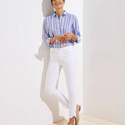 Modern Wrap Cuff Slim Pocket Skinny Jeans in White | LOFT