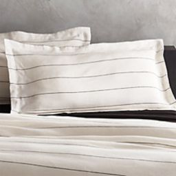 Linen Pinstripe Duvet Cover Full/Queen   CB2