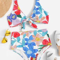 Random Floral Knot Front Top With High Waist Bikini | SHEIN