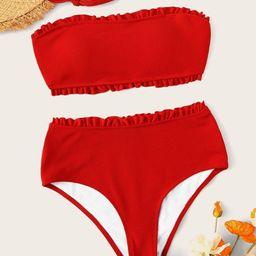 Frill Trim Ribbed High Wasit Bandeau Bikini Set | SHEIN