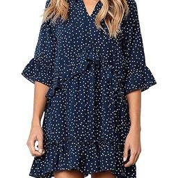 onlypuff Ruffle Polka Dot Dresses for Women Swing Tunic Tops Casual Loose Fitting V Neck Sleevele...   Amazon (US)