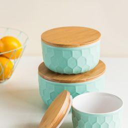 Bloomingville - Round Ceramic Mint Lidded Bowl Set   Francesca's Collections