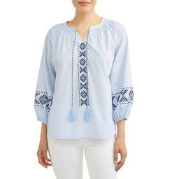 Women's Embroidered Smock Neck Top | Walmart (US)