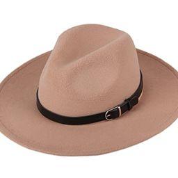 Dantiya Women's Wide Brim Wool Fedora Panama Hat with Belt | Amazon (US)