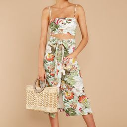 Toast To The Coast Green Tropical Print Two Piece Set | Red Dress
