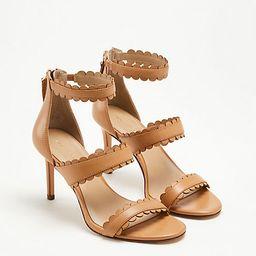 Raina Scalloped Leather Heeled Sandals | Ann Taylor (US)