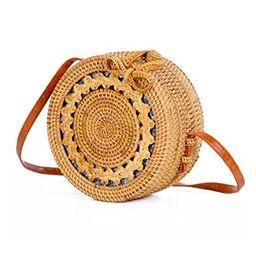Women's Rattan Handbags Cross- body Bags Shoulder Messenger Bag Beach Handwoven Natural Sun flower | Amazon (US)
