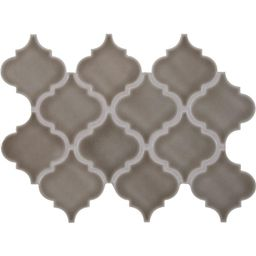 Dove Gray Arabesque 10-1/2 in. x 15-1/2 in. x 8mm Glazed Ceramic Mesh-Mounted Mosaic Wall Tile (1... | The Home Depot