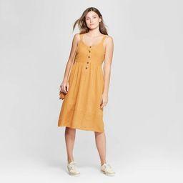 Women's Sleeveless V-Neck Button Front Midi Dress - Universal Thread™ Gold   Target