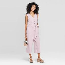 Women's Sleeveless V-Neck Button Front Jumpsuit - A New Day™   Target