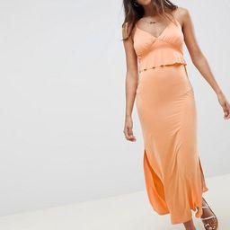 ASOS DESIGN maxi sundress with ruffle waist in slinky | ASOS US