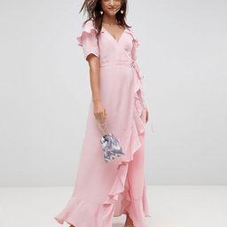 ASOS Short Sleeve Ruffle Wrap Maxi Dress | ASOS US