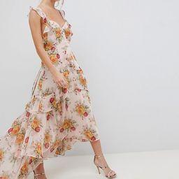 ASOS DESIGN ruffle maxi dress in rose floral print | ASOS US