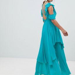 ASOS Ruffle Sleeve Cut Out Back Maxi Dress | ASOS US