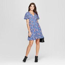 Women's Floral Print Short Sleeve Flutter Button-Front Dress - Xhilaration™   Target