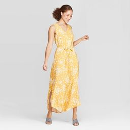 Women's Floral Print Sleeveless V-Neck Woven Maxi - A New Day™ Yellow   Target