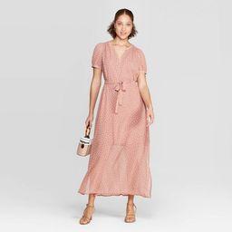 Women's Polka Dot Casual Fit Cap Sleeve Deep V-Neck Chiffon Maxi Dress - A New Day™ Dark Pink   Target