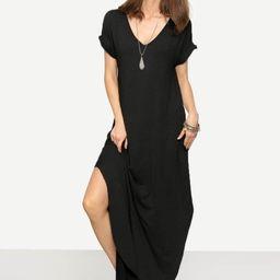 Rolled Sleeve Split Curved Hem Tee Dress | SHEIN