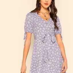 Button Through Floral Print Belted Dress   SHEIN
