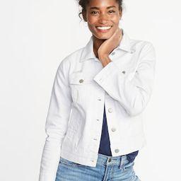 Distressed White Denim Jacket for Women | Old Navy US