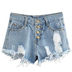 MAKEMECHIC Women's Frayed Raw Hem Ripped Distressed Denim Shorts | Amazon (US)