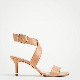 Letha Wrap Leather Heeled Sandals | Ann Taylor | Ann Taylor (US)