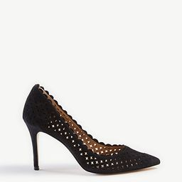 Mila Scalloped Perforated Suede Pumps   Ann Taylor   Ann Taylor (US)