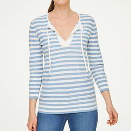 Petite Striped Tie Neck Sweater | LOFT Outlet