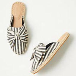Striped Bow Espadrille Slides | LOFT Outlet