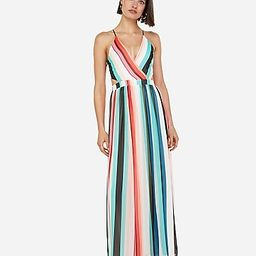 striped surplice front lace-up back maxi dress   Express