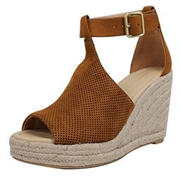 City Classified Women's Peep Toe Perforated Ankle Strap Espadrilles Wedge | Amazon (US)