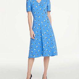Floral Button Trim Wrap Dress | Ann Taylor Factory