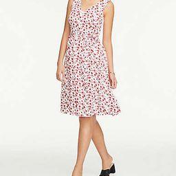 Floral Tie Waist Flare Dress | Ann Taylor Factory