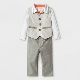 Baby Boys' Long Sleeve Bodysuit, Twill Vest and Twill Pant Set - Cat & Jack™ Gray/White   Target