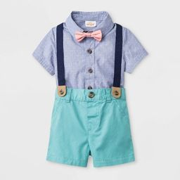 Baby Boys' Short Sleeve Woven Bodysuit with Bowtie and Shorts - Cat & Jack™ Blue/Green | Target