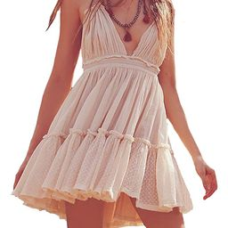 R.Vivimos Womens Summer Halter Deep V Neck Sexy Patchwork Mini Short Dresses   Amazon (US)