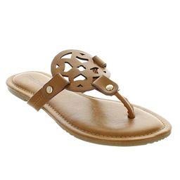 Pierre Dumas Limit-11 Women's Vegan Leather Ornamented T-Strap Thong Flats Sandals | Amazon (US)