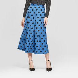 Women's Polka Dot Birdcage Midi Skirt - Who What Wear™ Blue/Black | Target