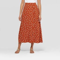 Women's Polka Dot Mid-Rise Button Front Maxi Skirt - A New Day™ Rust | Target