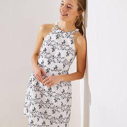 Embroidered Halter Flare Dress | LOFT