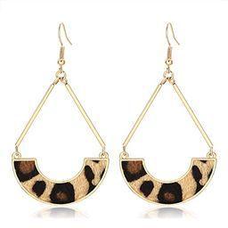 TIKCOOL Leather Dangle Drop Earrings for Women Leopard Print Earrings Fur Geometric Fan Hoop Earr... | Amazon (US)