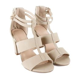 Womens Comfortable Strappy Chunky Block Ankle Strap Open Toe Heeled Sandals | Amazon (US)